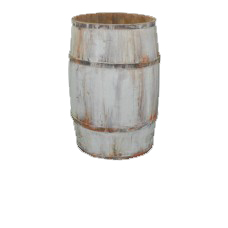 Large White Wooden Barrel