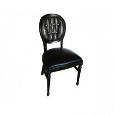 Black Tufted Leather Ballroom Chair