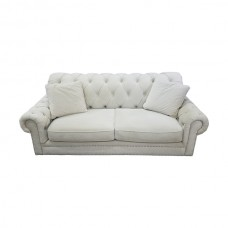 Tufted Cream Suede Sofa