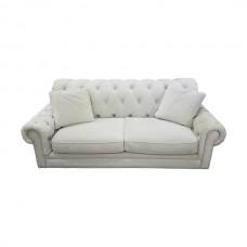 Tufted Cream Suede Sofa