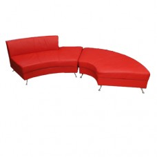Red Leather Round Chez