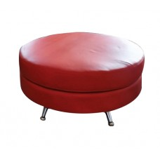 Red Leather Round Ottoman