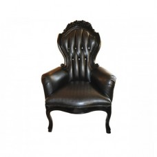 Black Tufted Leather Bling Chair