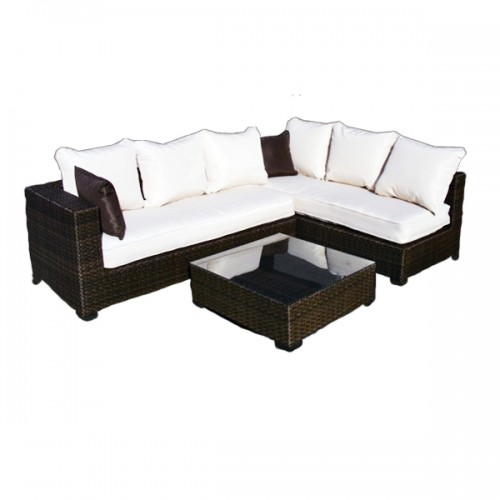 White Wicker Lounge Couch Rental