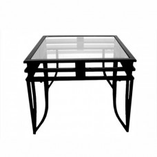 Small Black Metal & Glass Table