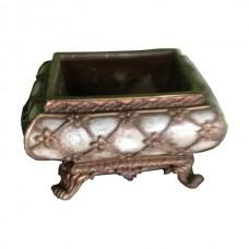 White & Gold Oriental Low Vase