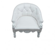 White Tufted Scoop Chair